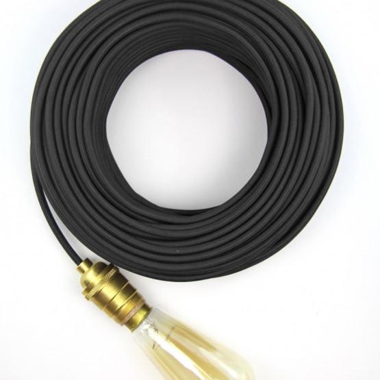 Черный текстильный провод 5 метров